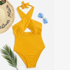 NWT Yellow Wrap One Piece Halter Bathing Suit M